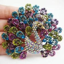 Multi-color Rhinestone Crystal Brooch Pin New Luxurious Vintage Peacock Bird