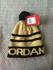 New Nike Jordan Cap Hat Beanie Gold & Black 8/20
