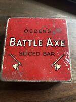 Vintage OGDENS OGDEN'S Battle Axe Sliced Bar Tobacco Tin Two Ounce Ozs Size