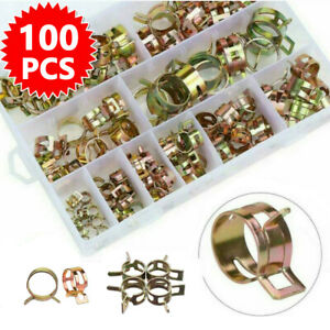 100x 6-17mm Fuel Hose Line Water Pipe Air Tube Spring Clip Clamps Assortment Kit