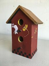 Wood Bird House with painted design 2 Hole with perches