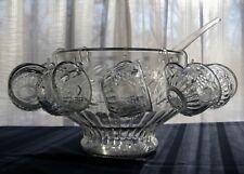 Jeannette Glass Clear Fruit Punch Bowl + Cups + Hooks + Ladle 26 piece Set