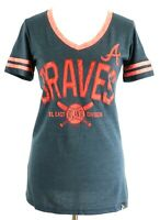 Atlanta Braves Official MLB Baseball Women's Cute Shirt New Soft Stripes Large L