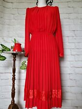 Vintage 1980s Lisa Michaels Red Dress Women Size 10 Secretary Pleated Polyester
