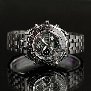 🎁INFANTRY Mens Digital Quartz Wrist Watch Sport Military Black Stainless Steel