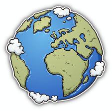 "Earth Cartoon Around the World Car Bumper Sticker Decal 5"" x 5"""