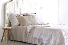 100% Leinen Einfache Bettlaken 260x220 + 2 Kissenbezüge 50x70 Naturleinen Neu
