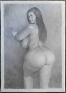 """""""NOURI"""": erotic pencil drawing by artist PHIL HENDERSON, signed"""