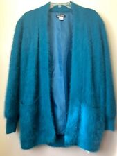 Connie A Lee Womens S M Angora Open Front Cardigan Jacket Teal Green Fluff Fuzzy
