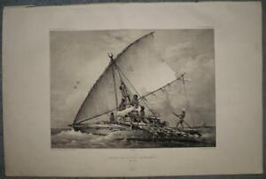 BALAHOU FIJI ISLANDS POLYNESIAN CANOE 1841 DUMONT D'URVILLE ANTIQUE PLATE
