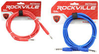 2 Rockville 10' 1/4'' TRS to 1/4'' TRS  Cable 100% Copper (Red and Blue)