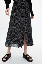 BNWT Zara Polka Dot Pleated Skirt Buttons Bow Waist Black White Extra Small XS