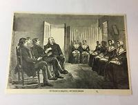 1885 magazine engraving ~ THE SHAKERS IN NISKAYUNA - SINGING MEETING