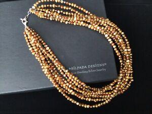 """Silpada Copper Pearl 8 Strand Necklace N1366 18""""-20"""" EUC"""