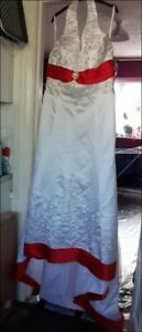 white & red wedding dress. embroidered & beaded. halter neck. see details.