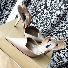 NEW IN BOX CLASSIC SERGIO ROSSI BEIGE NUDE SATIN WEDDING SLINGBACK SHOES 37.5