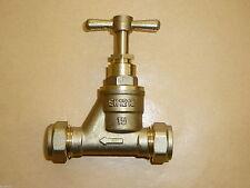 15mm Brass Stopcock CxC Copper Stop Cock Valve Plumbing