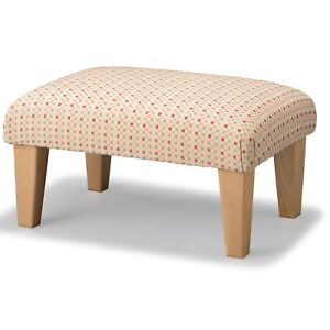 Ivory Pink Dot Chenille Low Larger Footstool on Wood Tall Tapered Legs
