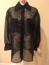 linda allard ellen tracy Silk Blouse with collar and sleeve embelishments Size 4