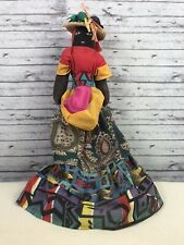 "Vintage Primitive Folk Art Cloth Black African Doll 17""  Painted Face Hand Made"