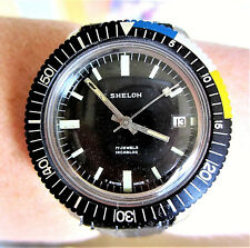 Gents 1960s Swiss SS Sheloh 17J Wind Up Dive 50m Black Dial Date Watch Serviced