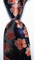 New Classic Floral Black Blue White Orange JACQUARD WOVEN Silk Men's Tie Necktie