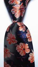 New Classic Floral Black Blue White Orange JACQUARD WOVEN Silk Men's Tie Necktie