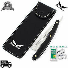 Black Steel Straight Edge Barber Hair Shaving Razor Folding Knife With 10 Blades