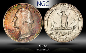 1950 Washington Quarter 25 Cents NGC MS66 Multi Colored Obverse Toned Coin