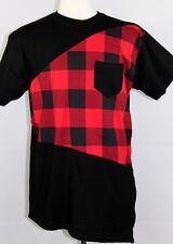 MEN'S PLAID SHORT SLEEVE T-SHIRT WITH SIDE ZIPPER RED SIZE X-LARGE
