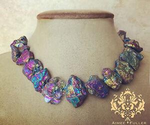 Aimee Fuller Rainbow Prism Titanium Agate Necklace Chunky Statement Purple Blue