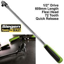 "Siegen Ratchet Handle Socket Wrench 1/2"" Drive Flexi Head 72T Extra Long 609mm"
