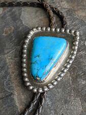 Vintage Navajo Signed Bennett Pat Pend Huge Turquoise Sterling Bolo