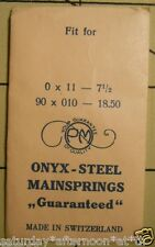 "Vintage NOS PM ONYX-STEEL Watch Mainspring 0 X 11 - 7 1/2"" Metric 90 X 010 18.50"