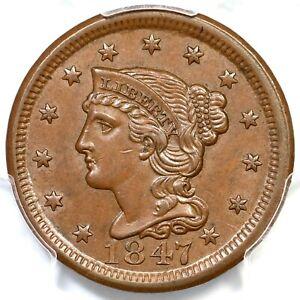1847 N-10 R-3 PCGS MS 63 BN CAC Braided Hair Large Cent Coin 1c