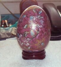 "4"" cloisonne purple egg on round wooden stand"