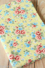 Yellow Shabby Floral Fabric piece zakka DIY quilting sewing Cotton Rayon cloth