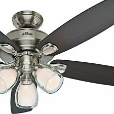 "Hunter 52"" Brushed Nickel Ceiling Fan w/ Light Kit- Flush, Std. or Angled Mount"