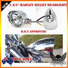 "5.75"" Chrome billet aluminum bullet headlight Harley Sportster dyna softail XL"
