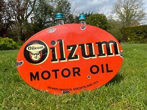 Emailleschild Oilzum USA Oldtimer Reklame Schild Benzin Auto Öl Werkstatt