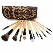 12 pzs Brochas de Maquillaje Profesional para mujeres con Agarre Madera y Bolsa