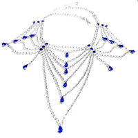 Austrian Crystal Choker Necklace Blue Rhinestone Bib Large Pageant Prom Bridal