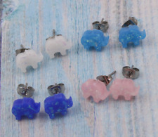 Stainless Steel 3 colors available opal Mini elephant design cute Stud earrings