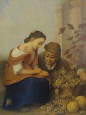 Franz Köhler (XX) - herrliches Gemälde auf Holz: JUNGES PAAR MIT WEINTRAUBEN