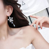 Women Crystal Rhinestone Star Long Tassel Drop Dangle Stud Earrings Jewelry JA