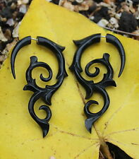 Fake Gauge Organic Tribal Black Horn Earrings  Sprial Earring Cheater Expander