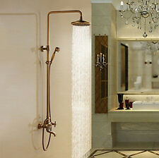"Luxury 8""Antique Brass Rain Bath Shower Faucet Set Mixer Tub Tap with Hand Spray"