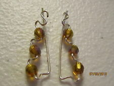 1 Pair Dark Topaz AB Sterling Silver Filled Ear Vines, Sweeps, Pins Earrings  #1