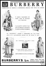 PUBBLICITA' 1934 BURBERRY IMPERMEABILE MODA UOMO CANE SPORT CACCIA TESSUTO DOGS