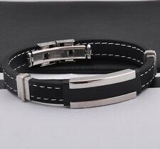 """Unisex Men Women's Stainless Steel Rubber Silicone Bracelet Black 8"""" G3"""
